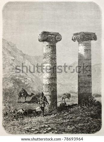 Old illustration of Cybele temple columns in Sardis, Aegean region, Turkey. Created by Gaiaud, published on Le Tour du Monde, Paris, 1864