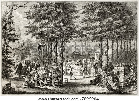 Old illustration of dancing in Saint Cloud park, near Paris. Created by Janet-Lange and Best after print of 18th century. Published on Magasin Pittoresque, Paris, 1850