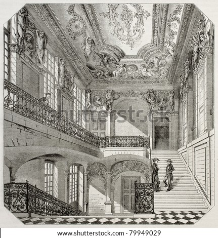 Old illustration of Ecole centrale des arts et manufactures, Paris. Created by Lancelot, published on Magasin Pittoresque, Paris, 1850