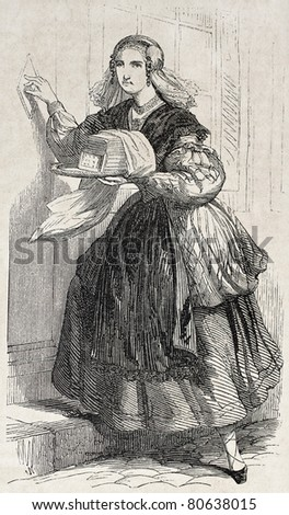 Old illustration of Frisian woman selling wafers. Created by Marc, published on L'Illustration, Journal Universel, Paris, 1857