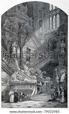 Old illustration of Golden Staircase (Escalera Dorada) in Burgos cathedral, Spain. Created by Roberts (Best, Hotelin and Regnier sculp.), published on Magasin Pittoresque, Paris, 1850