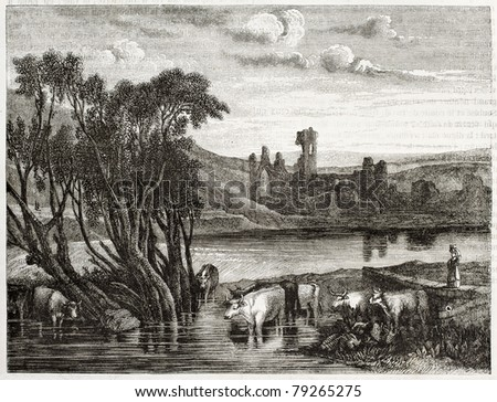 Old illustration of Kirkstall abbey, near Leeds, West Yorkshire,England. Created by Marvi after Turner, published on Magasin Pittoresque, Paris, 1850
