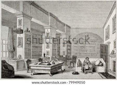 Old illustration of library in Edgeworthstown House, Ireland. By unidentified author, published on Magasin Pittoresque, Paris, 1850