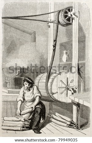 Old illustration of man working in degreasing workshop in antique needle factory. By unidentified author, published on Magasin Pittoresque, Paris, 1850