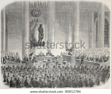Old illustration of Marie-Francoise Xavier Bichat statue inauguration. Created by Janet-Lange, published on L'Illustration, Journal Universel, Paris, 1857