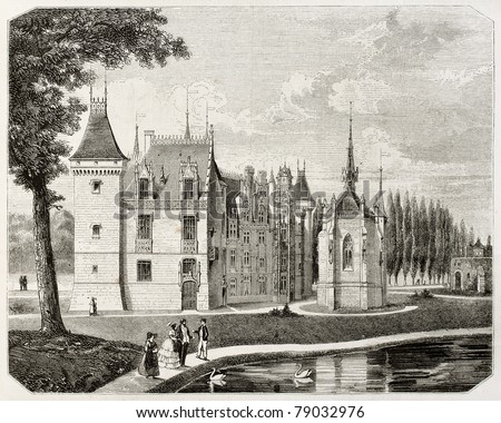 Old illustration of Meillant castle, Cher department, France. Created by Renard and Pontenier, published on Magasin Pittoresque, Paris, 1850