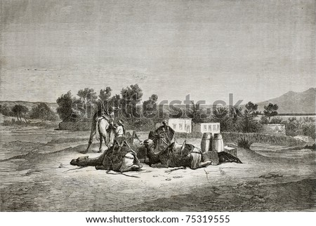 Old illustration of Moses Spring (Oyun Musa), near Suez in Sinai peninsula. Created by Pottin, published on Le Tour du Monde, Paris, 1864