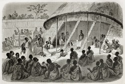 Old illustration of  Mtesa, King of Uganda, listening people's  requests. Created by Bayard, Hotelin and Hurel, published on Le Tour du Monde, Paris, 1864