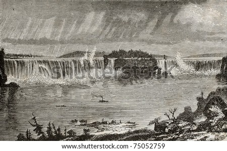 old illustration of niagara...