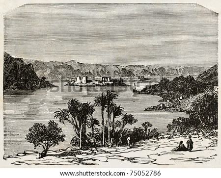 Old illustration of Nile river, Africa. By unknown author, published on L'Eau, by G. Tissandier, Hachette, Paris, 1873