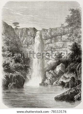 old illustration of reb river...