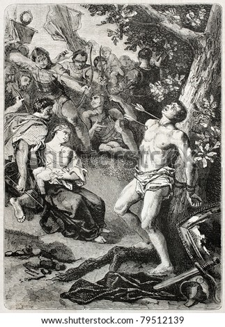 Old illustration of Saint Sebastian martyrdom. Created by Pecher, published on L'Illustration Journal Universel, Paris, 1857