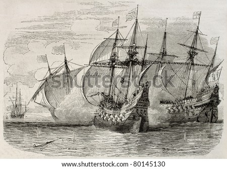 Old illustration of sea battle between French and British ships during the siege of La Rochelle. Created by Rouargue, published on Magasin Pittoresque, Paris, 1850