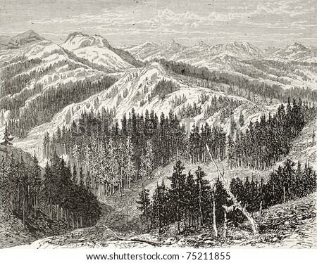 Old illustration of Sierra Nevada, USA. Created by Blanchard, published on L'Illustration, Journal Universel, Paris, 1868