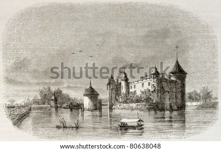 Old illustration of the Chateau de la Brede, were the philosopher Montesquieu was born. By unidentified author,  published on Magasin Pittoresque, Paris, 1850