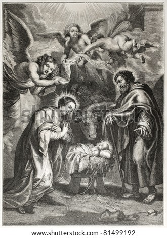 Old illustration of the holy Nativity. Engraved by Jourdain after painting of Rubens,  published on L'Illustration Journal Universel, Paris, 1857
