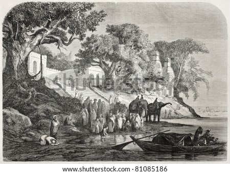 Old illustration of traditional Ganges ablutions in India. Created by Anastasi after sketch of De Berard, published on L'Illustration, Journal Universel, Paris, 1857