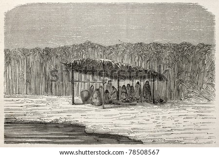 Old illustration of traditional shelter of natives Peruvian. Created by Riou and Laplante, published on Le Tour du Monde, Paris, 1864 - stock photo