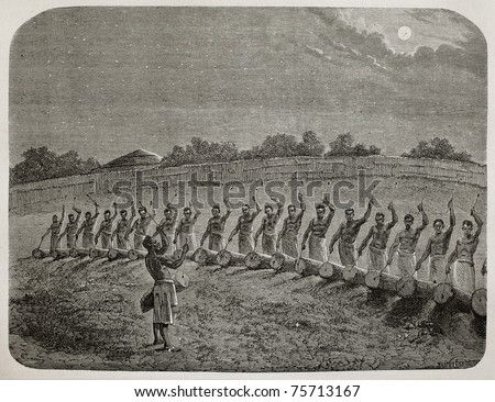Old illustration of tribal drummers greeting new moon in Victoria lake region. Created by Bayard, Gauchard and Bruno, published on Le Tour du Monde, Paris, 1864