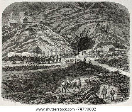Old illustration of tunnel opening across Sierra Nevada mountains, along Union Pacific railroad. Created by Blanchard, published on L'Illustration, Journal Universel, Paris, 1868