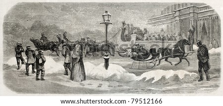 Old illustration of two sleighs in Broadway, New York. Created by Job, published on L'Illustration Journal Universel, Paris, 1857