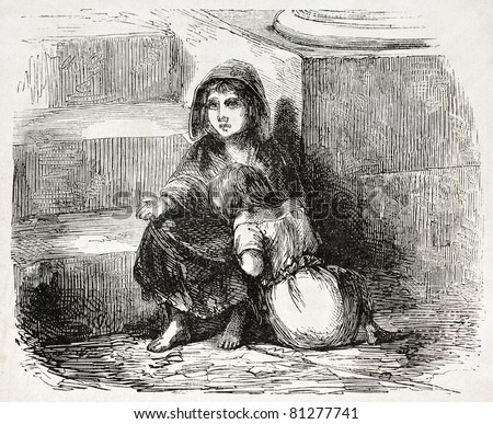 Old illustration of two young beggars. Created by Job, published on L'Illustration, Journal Universel, Paris, 1857