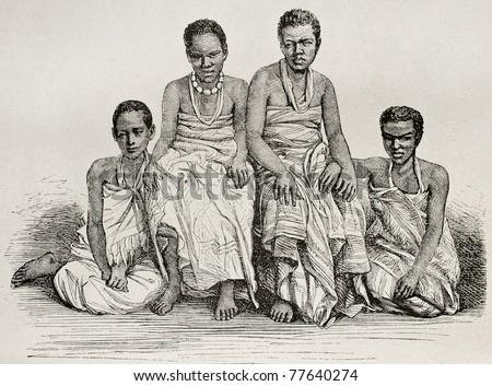 Old illustration of Ugandan women. By unidentified author after photo of Royer, published on Le Tour du Monde, Paris, 1864