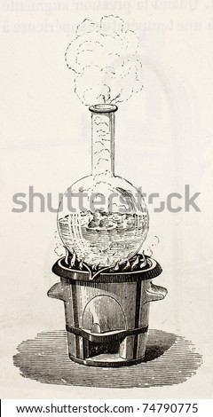 Old illustration of water boiling in a Florence flask. Original, by unknown author, was published on L'Eau, by G. Tissandier, Hachette, Paris, 1873
