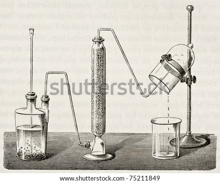 Old illustration of water synthesis by hydrogen combustion. Original, by unknown author, was published on L'Eau, by G. Tissandier, Hachette, Paris, 1873 - stock photo
