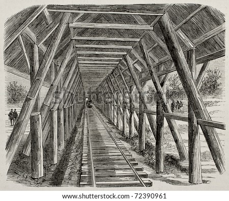 Old illustration of wooden snow canopy along Union Pacific Railroad, Sierra Nevada, USA. Original, by Lancelot, was published on L'Illustration, Journal Universel, Paris, 1868