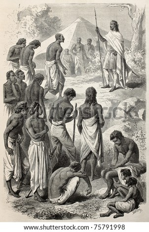 Old illustrations of Abyssinian Emperor Tewodros giving a hearing to insurgents people. Created by Janet-Lange and Dumont, published on Le Tour du Monde, Paris, 1864