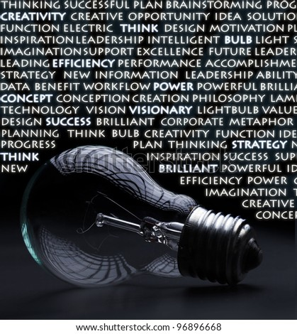 Old incandescent electric bulb with idea and creativity concept words - stock photo