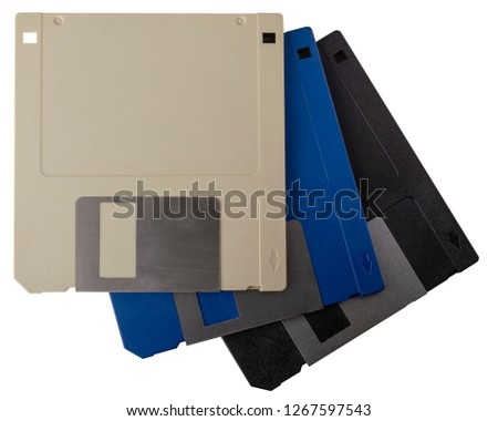 Old 3.5 inch Floppy Disks, data storage, isolated on white backgrounds