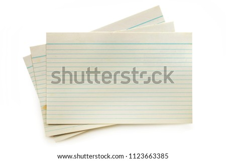 Old index cards isolated on white with soft shadow.