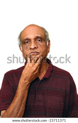Old Indian Immigrant thinking about something