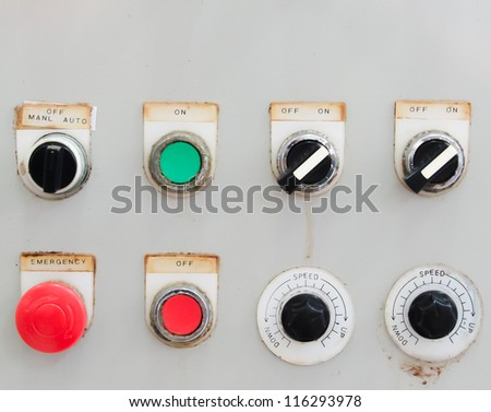 old industrial switching button control panel