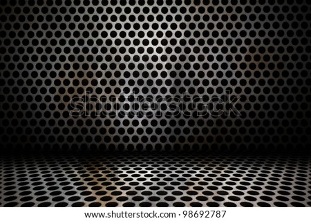 old interior background of circle mesh pattern texture