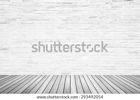 Old interior room with broken white brick wall and grunge wood floor texture in gray tone