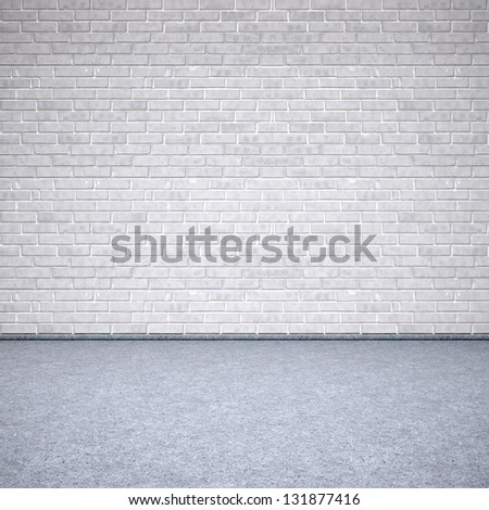 old interior with brick wall. 3d image.