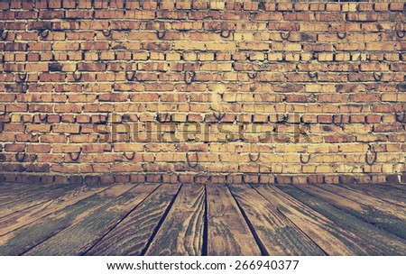 old interior with brick wall, vintage background, retro filtered, instagram style