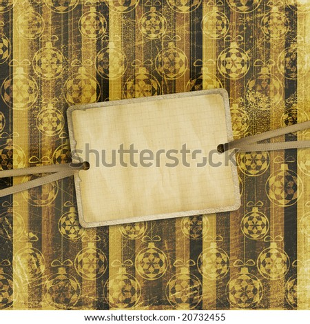 Old invitation for holiday with ribbons on the grunge background