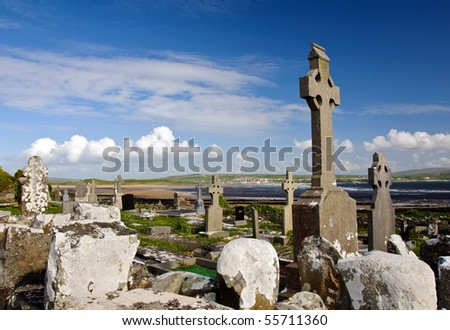 old Irish burial cemetery by coastal beach
