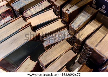Old Irish theology books in a library specialising in Irish History. Stock photo ©