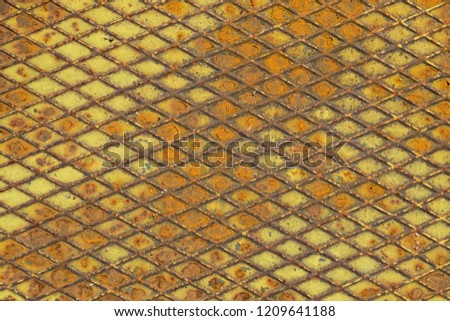 Old iron background. metal texture plate with rhombus shape #1209641188