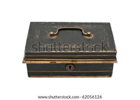 Old iron chest with lock, isolated on white