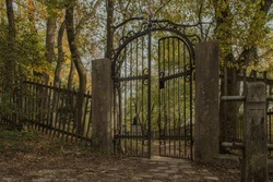Old iron door / gate at a cementary in Vienna, Austria