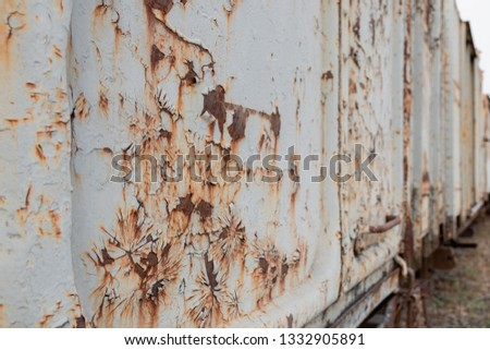 Old iron sheet, peeling color and rust #1332905891