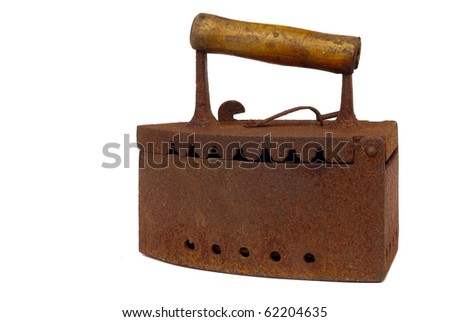 old irons isolated on a white background