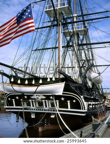 Old Ironsides, The U.S.S. Constitution In Boston Harbor, Massachusetts