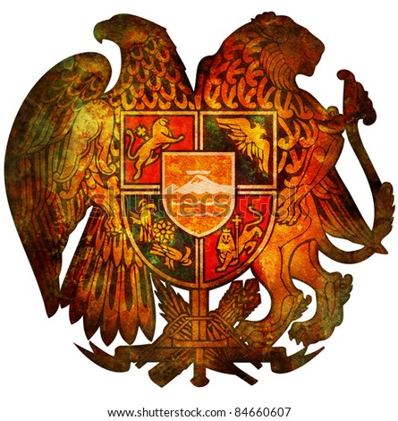 old isolated over white coat of arms of armenia
